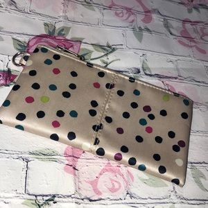 Via Night polka dot wallet w black wristlet NEW